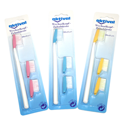 aktival change head toothbrush - medium with rounded bristles