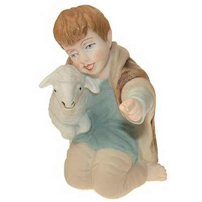 BOHEMIA porcelain christmas figure boy with sheep